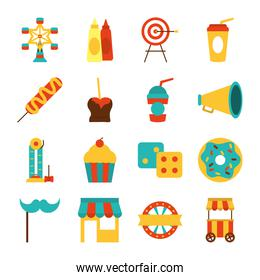 target and fair icon set, flat style