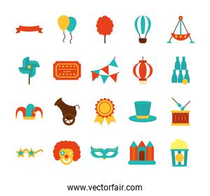 balloons and fair icon set, flat style