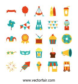 pennants and fair icon set, flat style