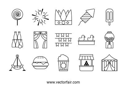 lollypop and fair icon set, line style