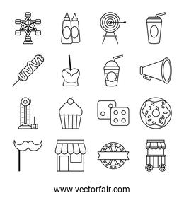 target and fair icon set, line style