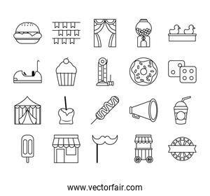 megaphone and fair icon set, line style