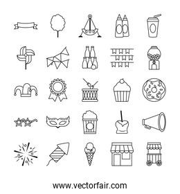 pennants and fair icon set, line style