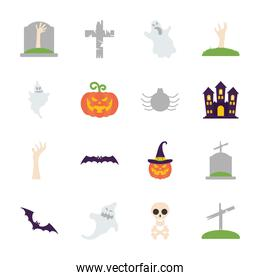 zombie hands and halloween icon set, flat style