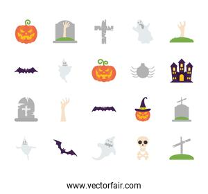 ghosts and halloween icon set, flat style
