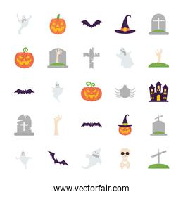 graves and halloween icon set, flat style