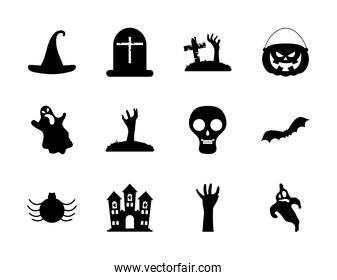 skull and halloween icon set, silhouette style