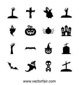 zombie hands and halloween icon set, silhouette style