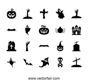ghosts and halloween icon set, silhouette style