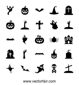 graves and halloween icon set, silhouette style