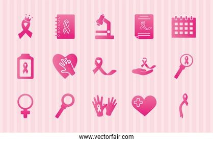 icon set of microscope and breast cancer, gradient style