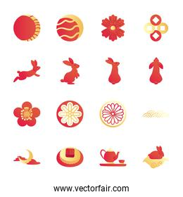 Mid autumn harvest moon festival gradient style collection of icons vector design