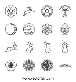 Mid autumn harvest moon festival line style collection of icons vector design