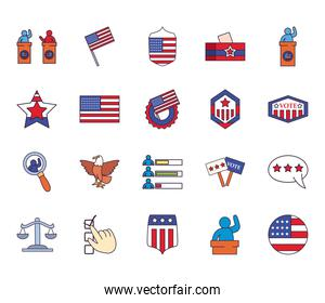 Usa elections line and fill style bundle of icons vector design
