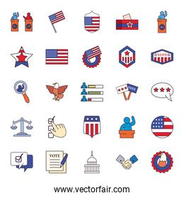 Usa elections line and fill style icons group vector design
