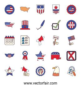 Usa elections line and fill style symbols set vector design