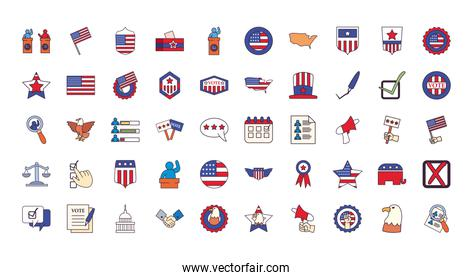Usa elections line and fill style 50 icon set vector design