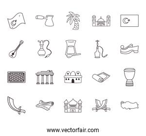 Turkish line style bundle of icons vector design