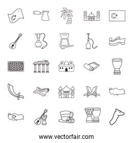 Turkish line style icons group vector design
