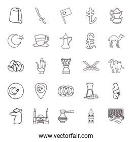 Turkish line style group of icons vector design