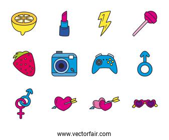 pop art line and fill style set icons vector design