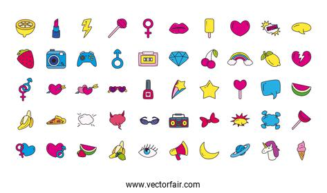 pop art line and fill style 50 icon set vector design