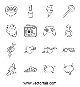 pop art line style collection of icons vector design