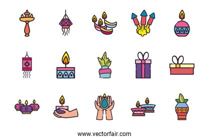 diwali line and fill style set of icons vector design