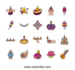 diwali line and fill style bundle of icons vector design