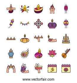 diwali line and fill style icons group vector design