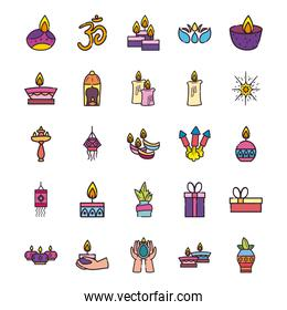 diwali line and fill style symbols set vector design