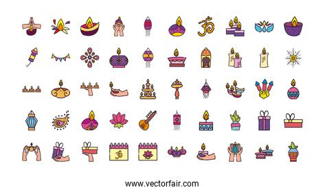 diwali line and fill style 50 icon set vector design