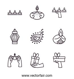 diwali line style icon set vector design