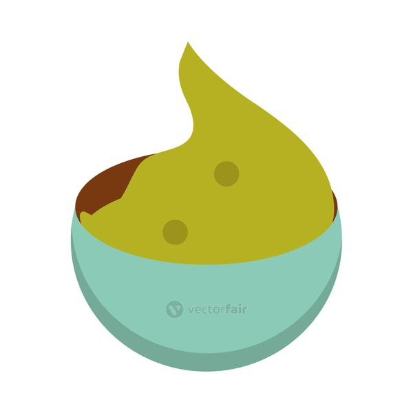 mexican food guacamole in bowl flat icon