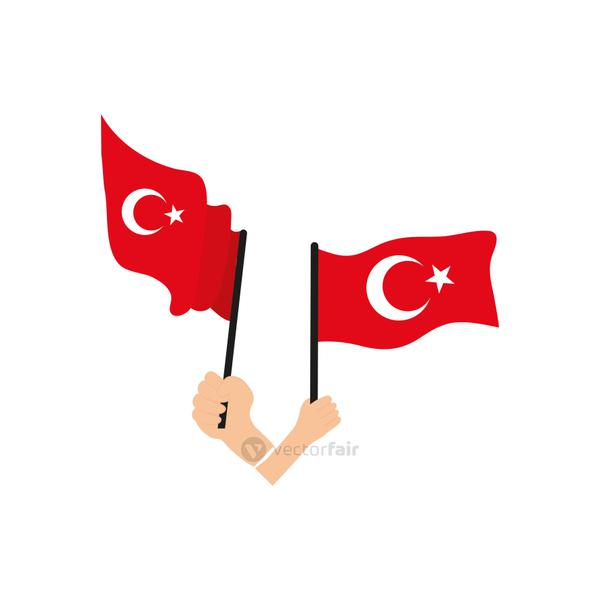 hands holding a turkey flags, flat style