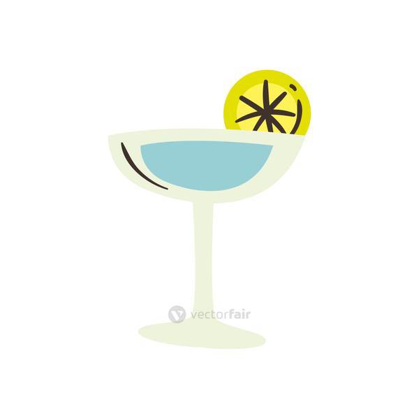 margarita cocktail with lemon free form style icon vector design