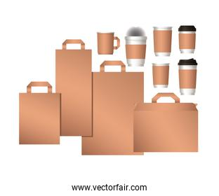 mockup bags and coffee mugs vector design