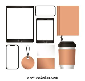 mockup tablet with smartphone and corporate identity set vector design
