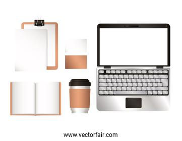 mockup laptop and corporate identity set vector design