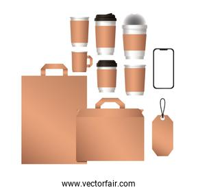mockup smartphone bags and coffee mugs vector design