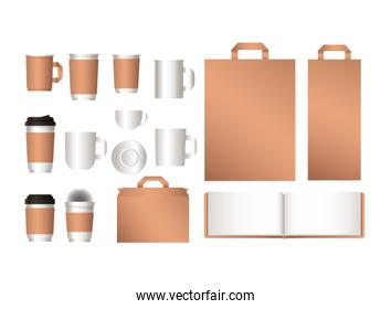 mockup notebook bags and coffee mugs vector design