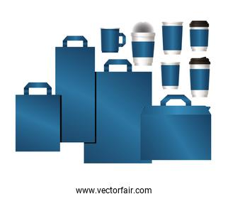 mockup set of bags and mugs with blue branding vector design