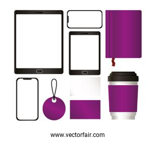 tablet and mockup set with purple branding vector design