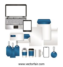 mockup set with blue branding vector design