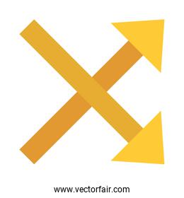 up and down crossed right arrows flat style icon vector design