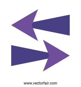 Arrows in right and left directions flat style icon vector design