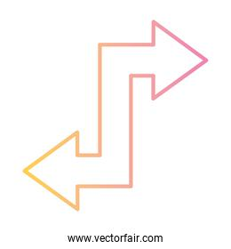 s arrow with left and right direction gradient style icon vector design