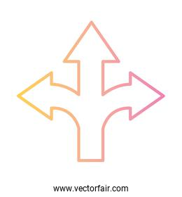 up left and right arrow gradient style icon vector design