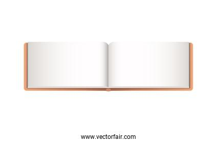 Isolated mockup open notebook vector design