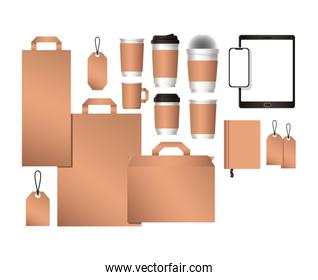 mockup tablet with smartphone bags and coffee mugs vector design